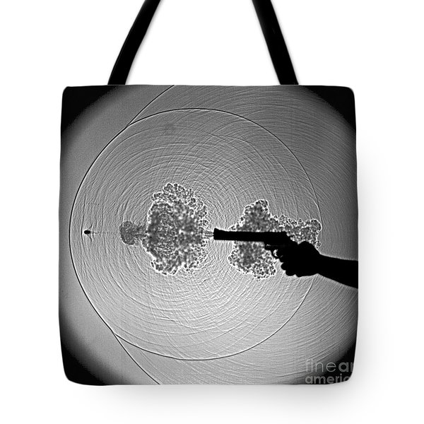 Black And White Gun Firing Shadowgram Tote Bag by Gary S Settles and Photo Researchers