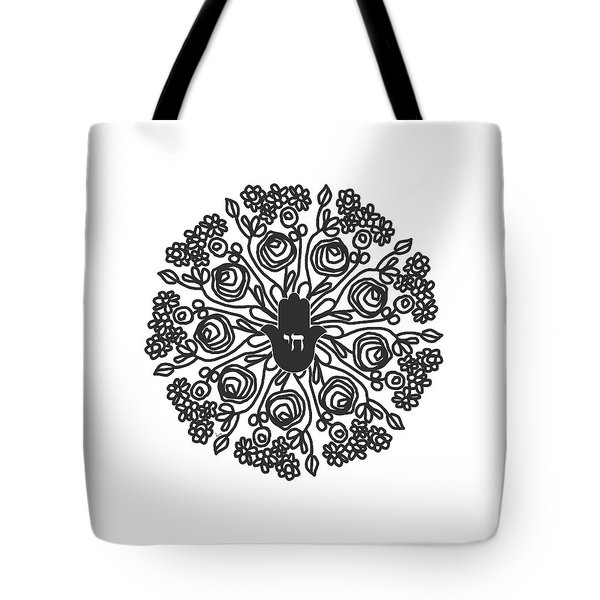Tote Bag featuring the mixed media Black And White Hamsa Mandala- Art By Linda Woods by Linda Woods
