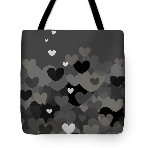 Black And White Heart Abstract Tote Bag