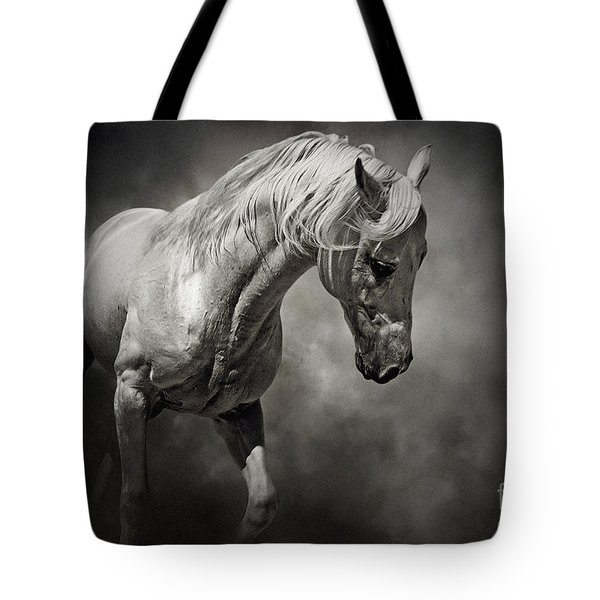 Black And White Horse - Equestrian Art Poster Tote Bag