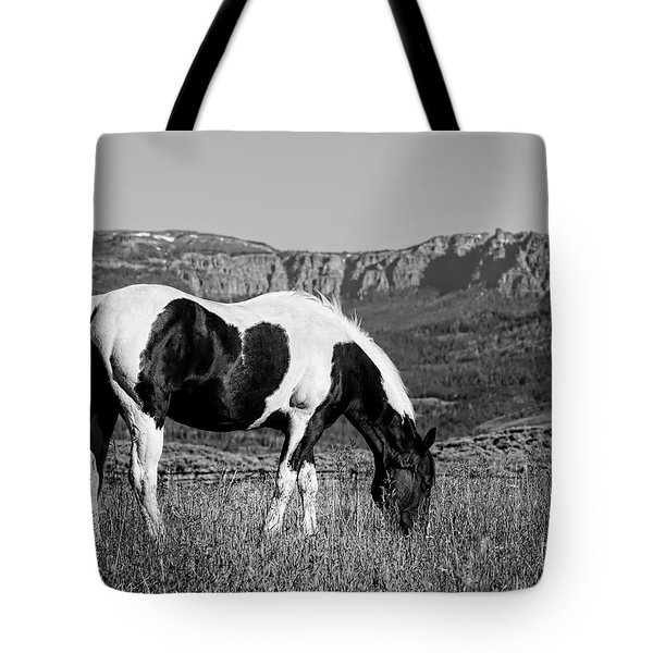 Black And White Horse Grazing In Wyoming In Black And White  Tote Bag