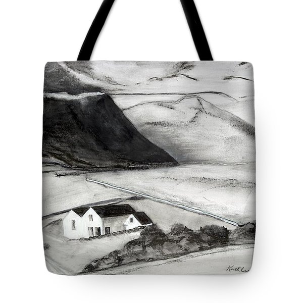 Black And White House And Hills Tote Bag