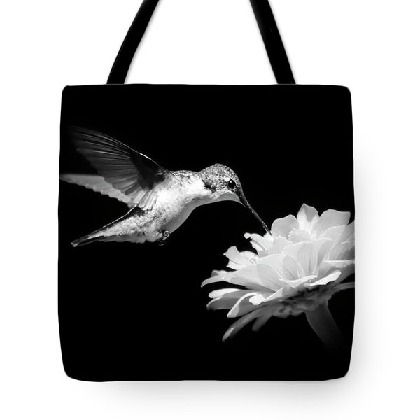 Tote Bag featuring the photograph Black And White Hummingbird And Flower by Christina Rollo