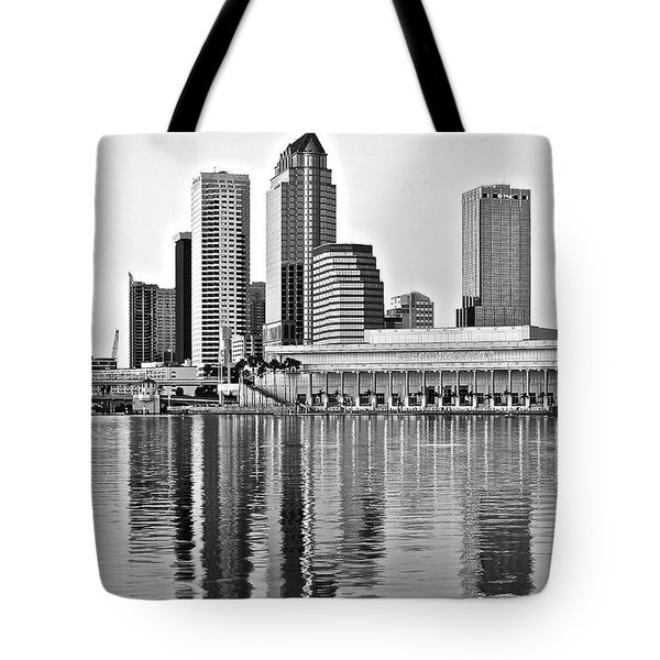 Black And White In The Heart Of Tampa Bay Tote Bag by Frozen in Time Fine Art Photography