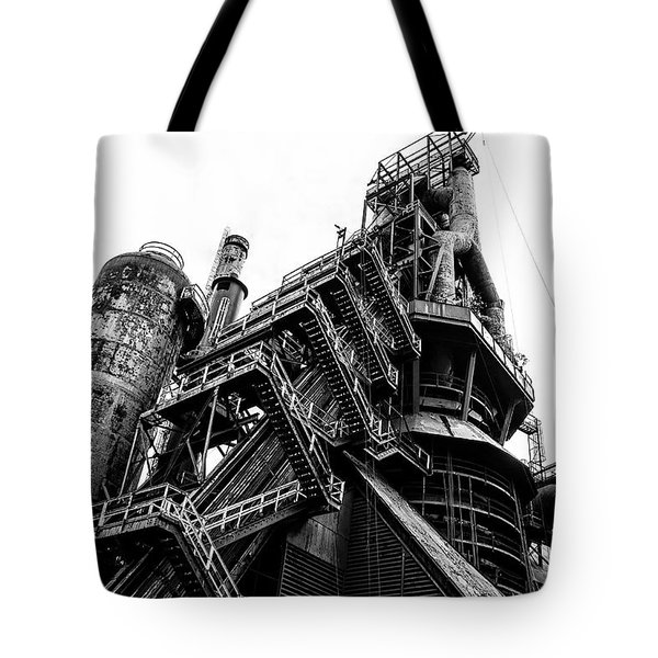 Black And White Industrial - Bethlehem Steel Tote Bag by Bill Cannon