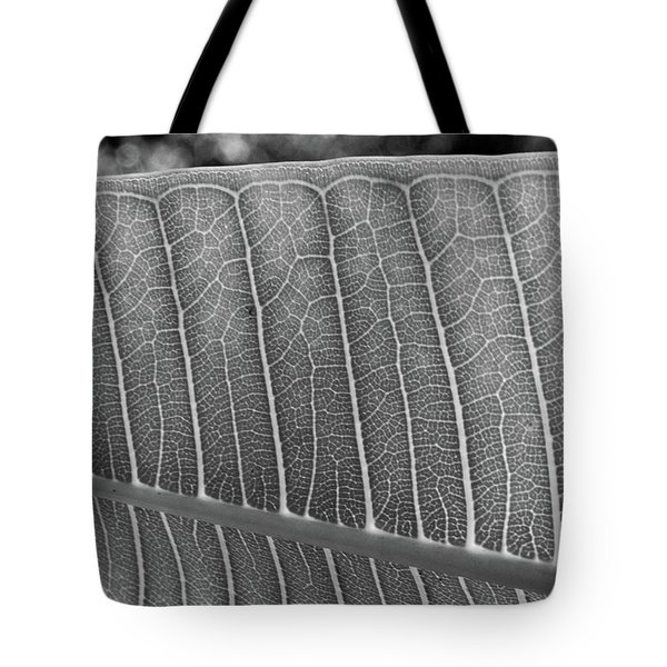 Black And White Leaf Tote Bag