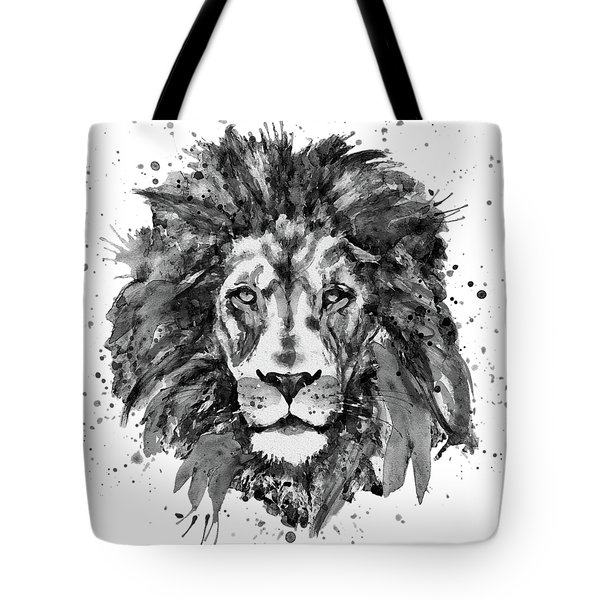 Tote Bag featuring the mixed media Black And White Lion Head  by Marian Voicu
