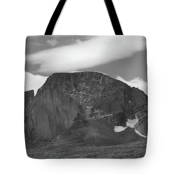 Tote Bag featuring the photograph Black And White Longs Peak Detail by Dan Sproul