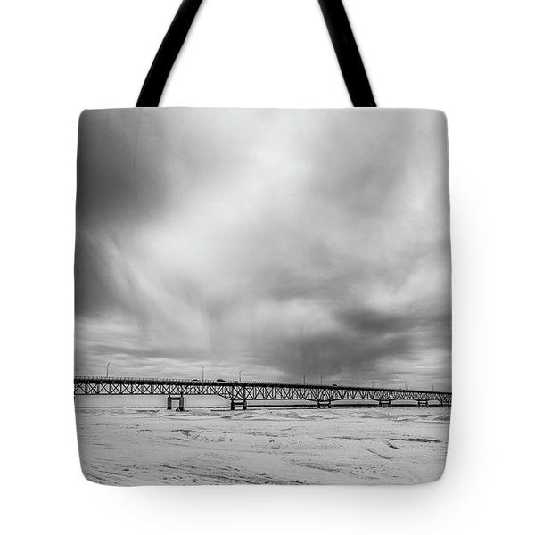Tote Bag featuring the photograph Black And White Mackinac Bridge Winter by John McGraw