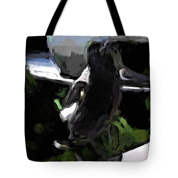 Black And White Magpie On The Porch Tote Bag
