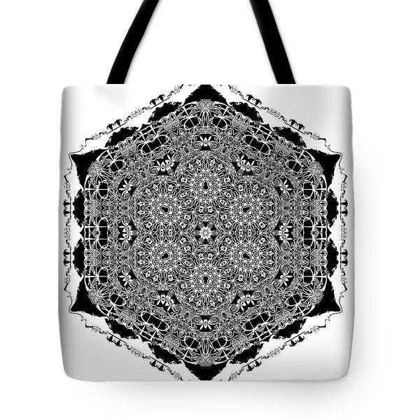 Tote Bag featuring the digital art Black And White Mandala 15 by Robert Thalmeier