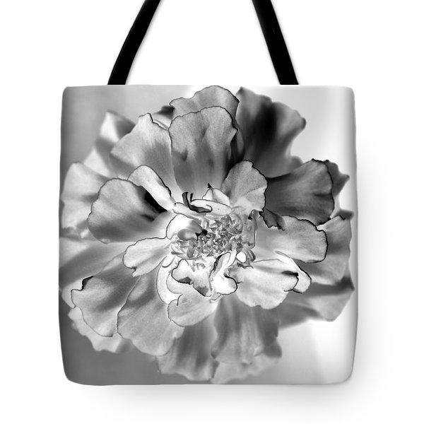Black And White Marigold Tote Bag