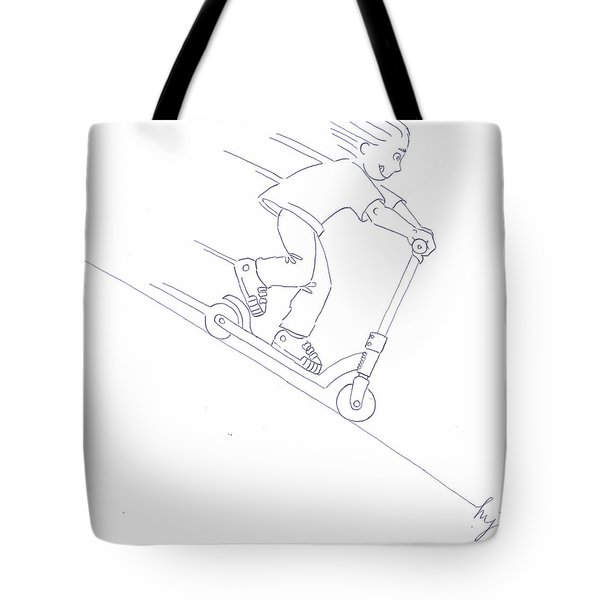 Black And White Micro Scooter Downhill Drawing Tote Bag