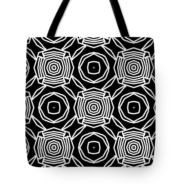 Black And White Modern Roses- Pattern Art By Linda Woods Tote Bag