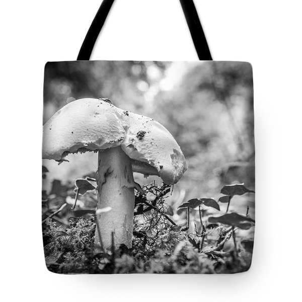 Tote Bag featuring the photograph Black And White Mushroom. by Gary Gillette