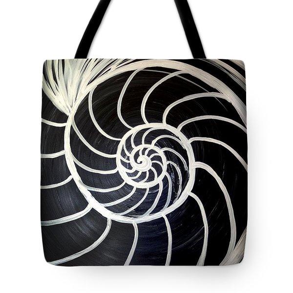 Black And White Nautilus Spiral Tote Bag