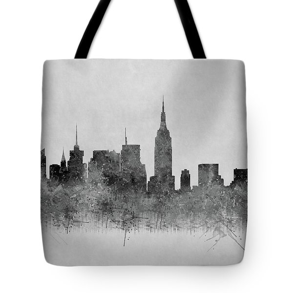 Tote Bag featuring the digital art Black And White New York Skylines Splashes And Reflections by Georgeta Blanaru
