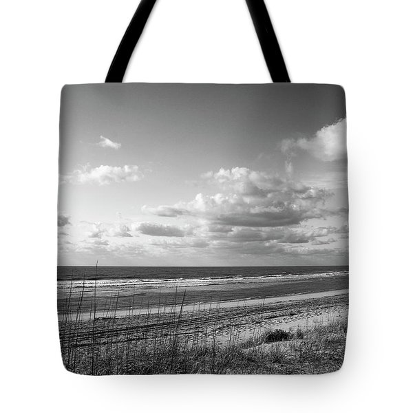 Black And White Ocean Scene Tote Bag