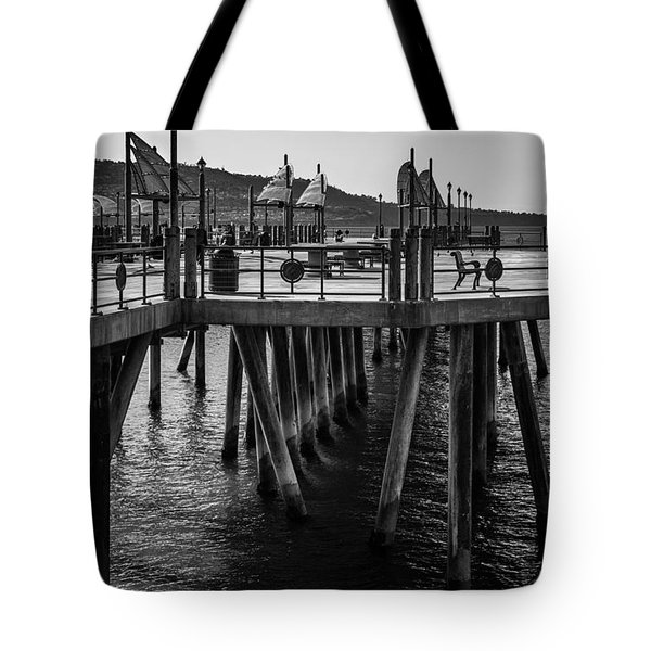 Black And White On The Pier Tote Bag