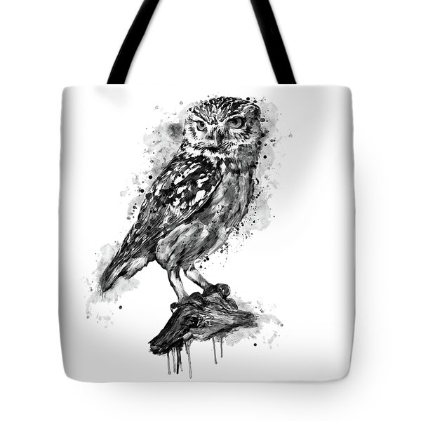 Tote Bag featuring the mixed media Black And White Owl by Marian Voicu