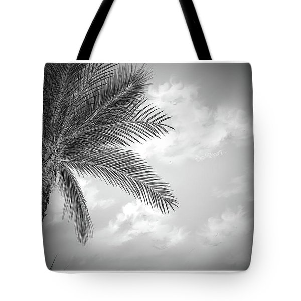 Tote Bag featuring the digital art Black And White Palm by Darren Cannell
