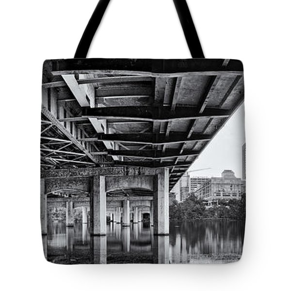 Black And White Panorama Of Downtown Austin Skyline Under The Bridge - Austin Texas  Tote Bag by Silvio Ligutti
