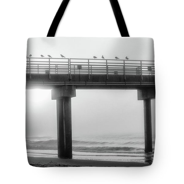 Tote Bag featuring the photograph Black And White Pier Alabama  by John McGraw