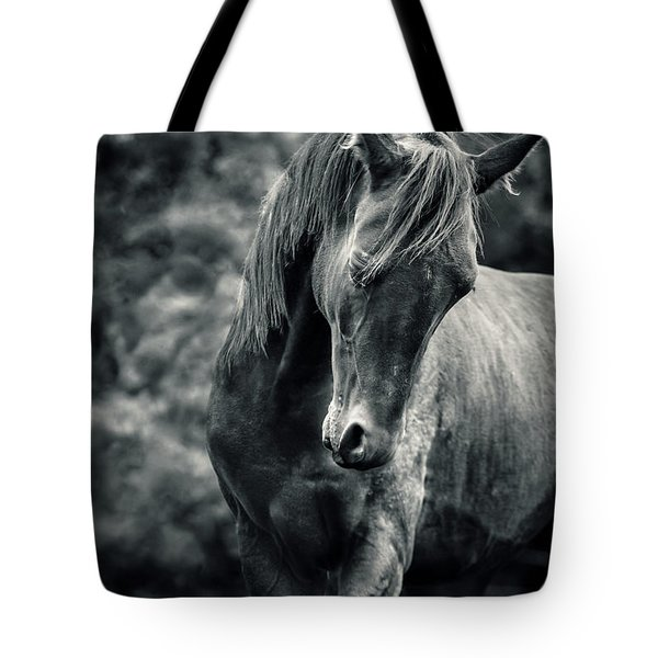 Black And White Portrait Of Horse Tote Bag