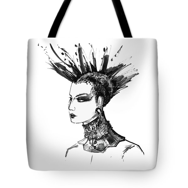 Tote Bag featuring the digital art Black And White Punk Rock Girl by Marian Voicu