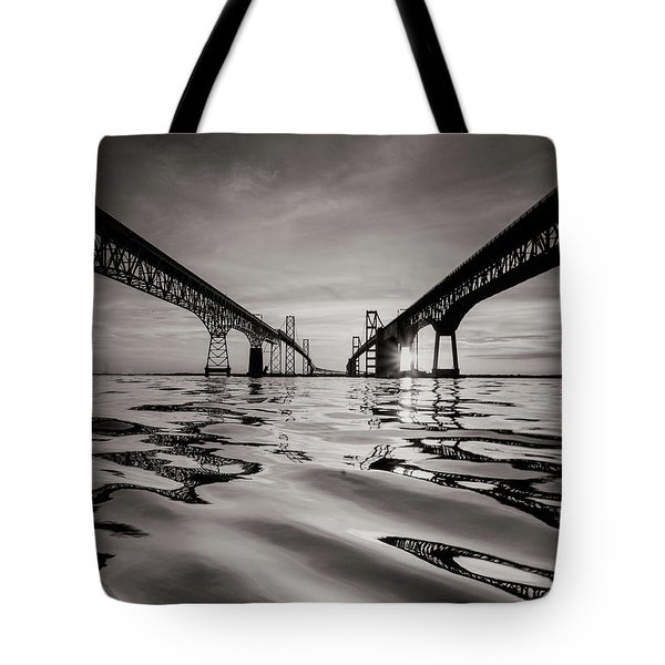 Tote Bag featuring the photograph Black And White Reflections by Jennifer Casey