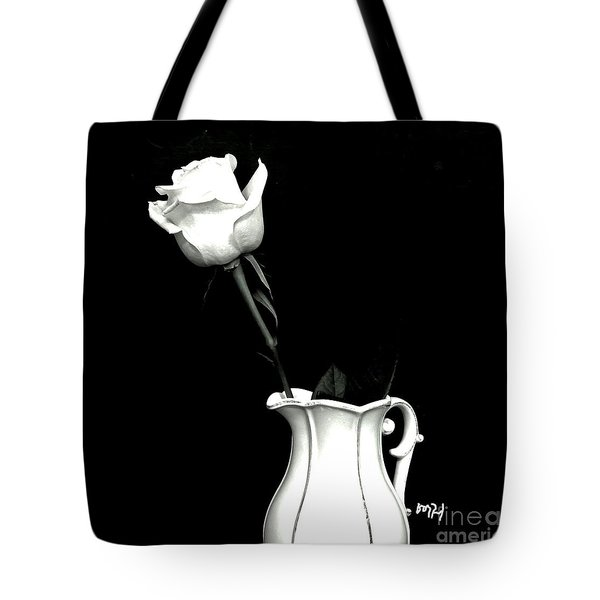 Tote Bag featuring the photograph Black And White Rose Three by Marsha Heiken
