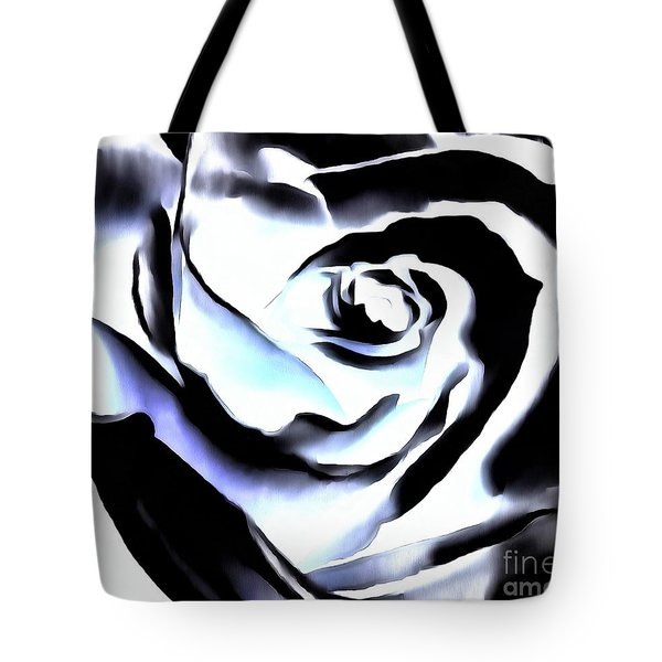 Tote Bag featuring the photograph Black And White Rose - Till Eternity by Janine Riley