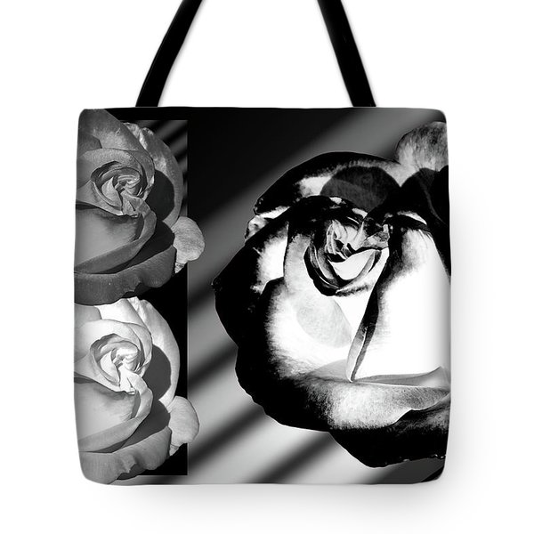 Black And White Roses Tote Bag by Phyllis Denton