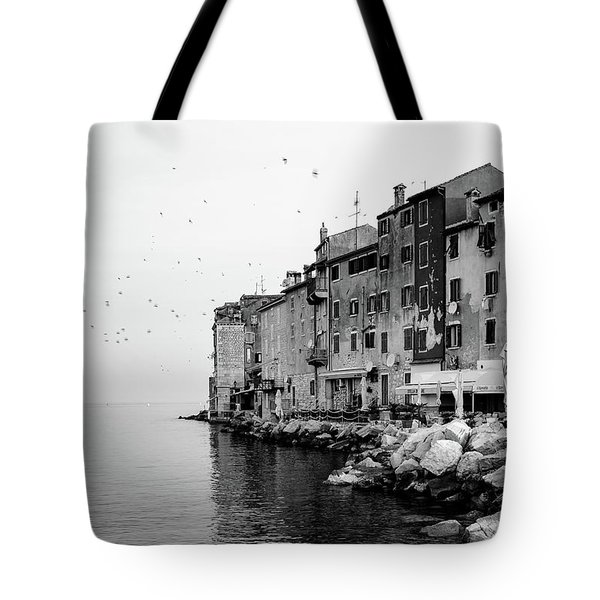 Black And White - Rovinj Venetian Buildings And Adriatic Sea, Istria, Croatia Tote Bag