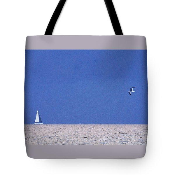 Black And White Sailboat And Seagull Tote Bag