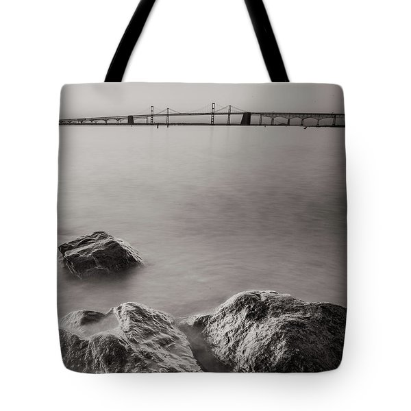 Tote Bag featuring the photograph Black And White Sandy Point by Jennifer Casey
