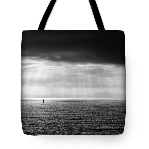 Black And White Seascape Tote Bag