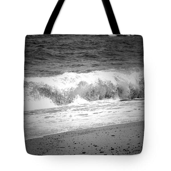 Black And White Shoreline  Tote Bag
