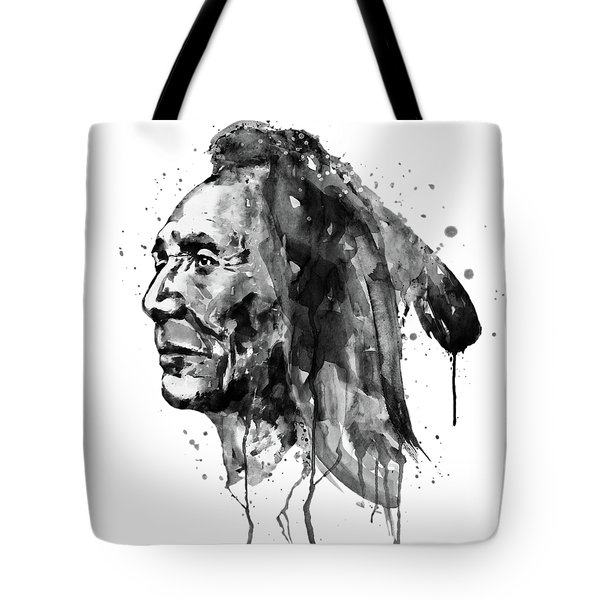 Tote Bag featuring the mixed media Black And White Sioux Warrior Watercolor by Marian Voicu