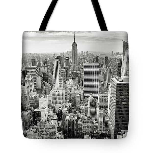 Tote Bag featuring the photograph Black And White Skyline by MGL Meiklejohn Graphics Licensing