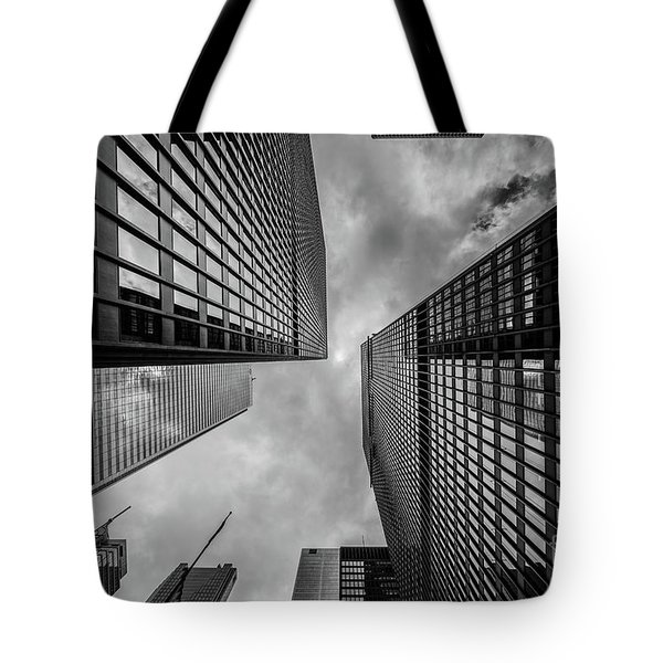 Tote Bag featuring the photograph Black And White Skyscraper by MGL Meiklejohn Graphics Licensing