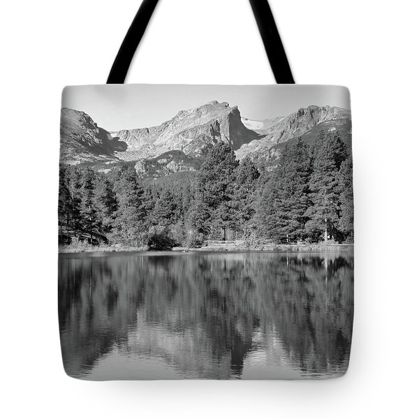 Tote Bag featuring the photograph Black And White Sprague Lake Reflection by Dan Sproul