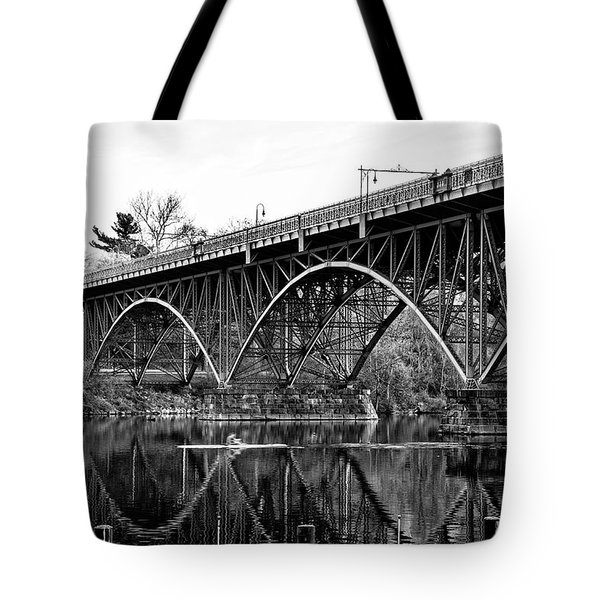 Tote Bag featuring the photograph Black And White - Strawberry Mansion Bridge - Philadelphia by Bill Cannon