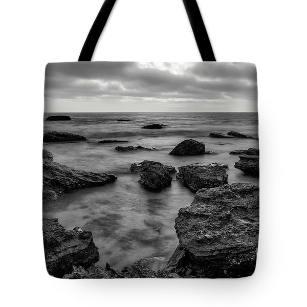 Black And White Sunset At Low Tide Tote Bag