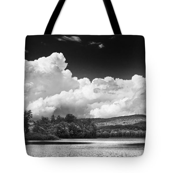 Black And White Vienna Maine Flying Pond With Storm Clouds Fine Art Print Tote Bag