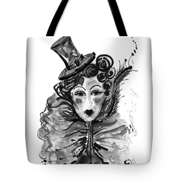 Tote Bag featuring the mixed media Black And White Watercolor Fashion Illustration by Marian Voicu