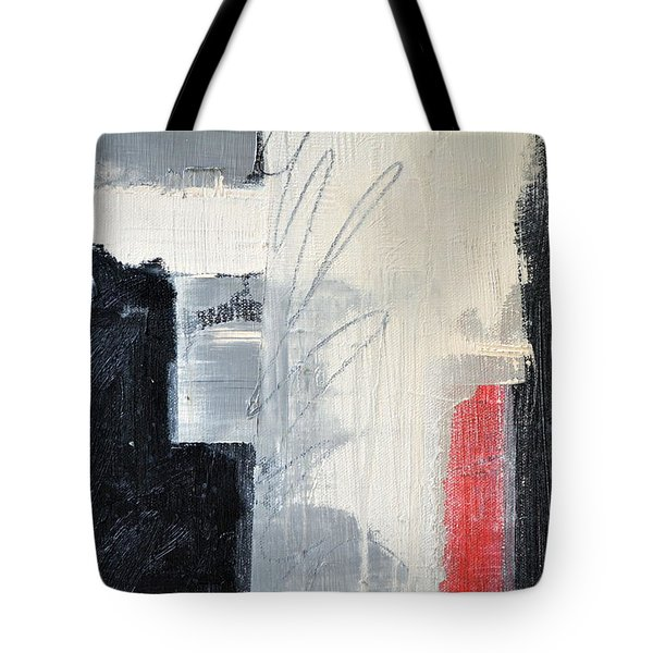 Tote Bag featuring the painting Black And White With Lines by Michelle Calkins