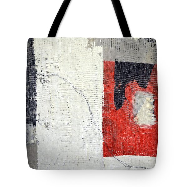 Tote Bag featuring the painting Black And White With Red Box by Michelle Calkins