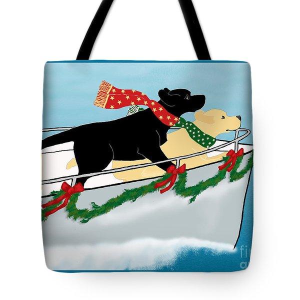 Black And Yellow Labs Boat To Christmas Tote Bag