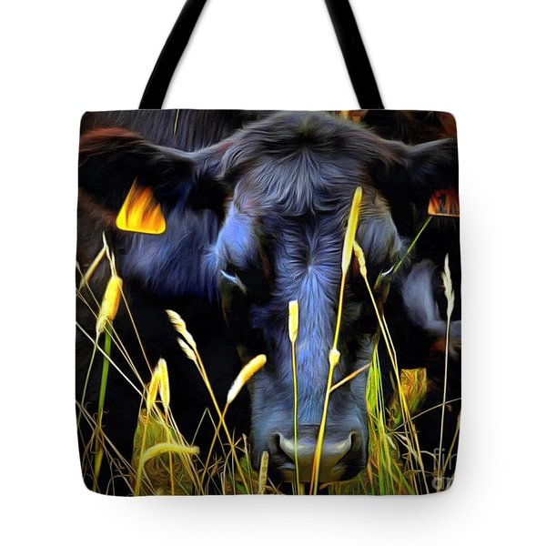 Black Angus Cow  Tote Bag by Janine Riley